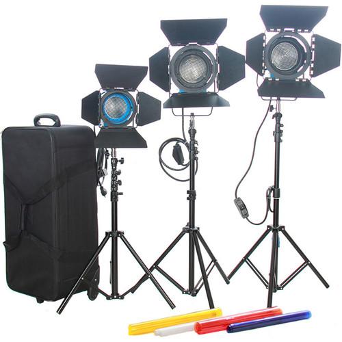 CAME-TV 2 x 1000W & 1 x 650W Fresnel Tungsten Spot Video Lights