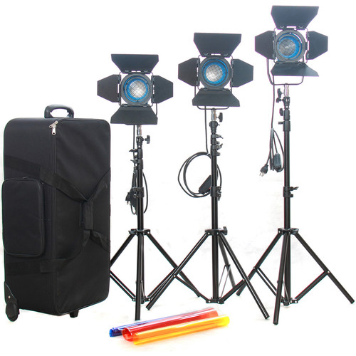 CAME-TV 3 x 300W / 500W Fresnel Tungsten Continuous Lights