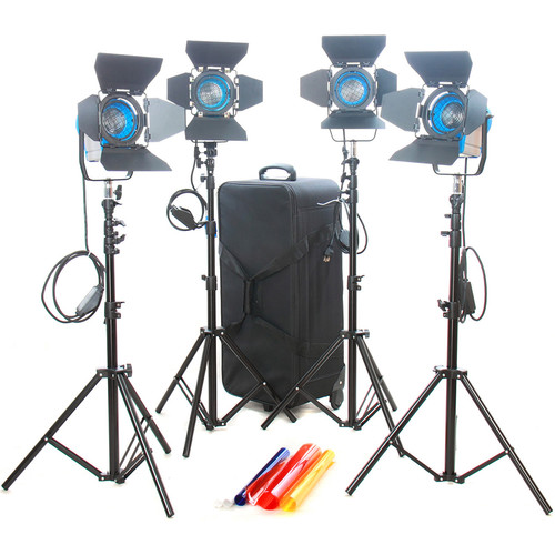 CAME-TV 4 x 300W Fresnel Tungsten Continuous Video Spot Light Kit
