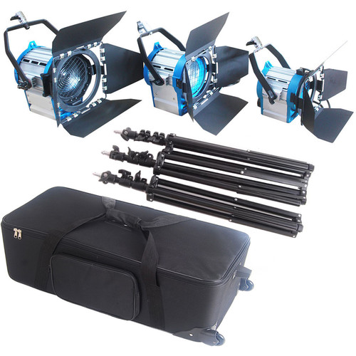 CAME-TV 3-Piece Fresnel Tungsten Studio Video Spot Light Kit (1 x 650W, 1 x 300W, & 1 x 1000W)