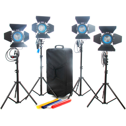CAME-TV 4 x 650W Tungsten Fresnel Lights