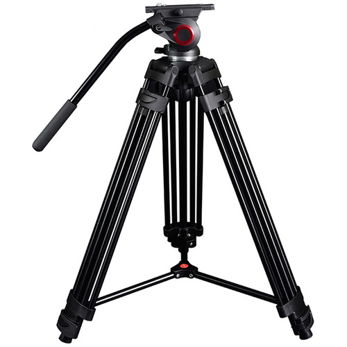 CAME-TV Aluminum Video Tripod with Fluid Head Max Load 22 Lbs. 601A