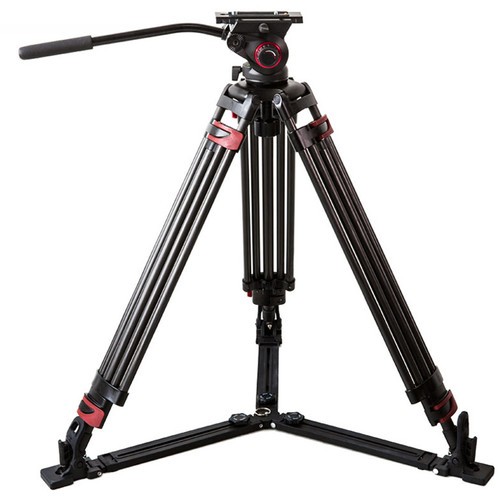 CAME-TV Aluminum Video Tripod with Fluid Bowl Head and Spreader Max Load 33 Lbs. 609B