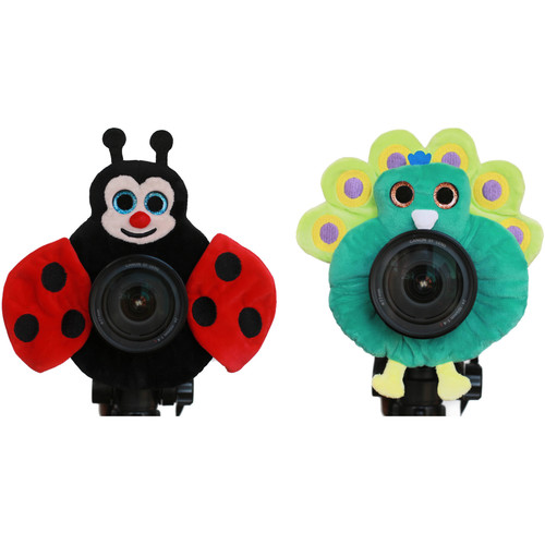 Camera Creatures Lovable Ladybug and Perky Peacock Posing Prop Kit