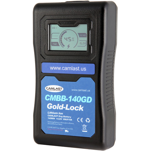 CAMLAST 140Wh 14.8V GoldMount Battery with LCD Display for Professional Camcorders & VTRs