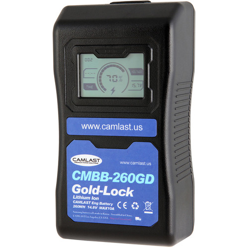 CAMLAST 260Wh 14.8V GoldMount Battery with LCD Display for Professional Camcorders & VTRs