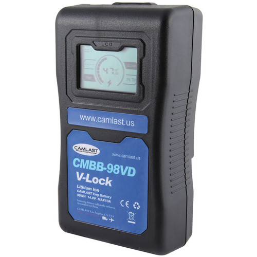 CAMLAST 98Wh 14.8V V-Mount Battery with LCD Display for Professional Camcorders & VTRs