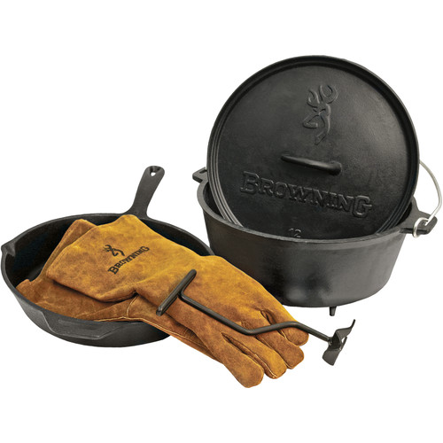 Camp Chef Browning Skillet / Dutch Oven Set with Lid Lifter & Gloves