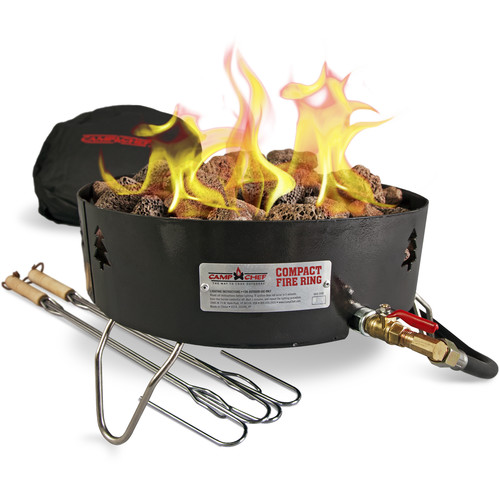 Camp Chef Compact Propane Fire Pit with Lava Rocks & Roasting Sticks