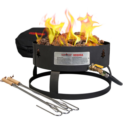 Camp Chef Sequoia Propane Fire Pit with Lava Rocks & Roasting Sticks