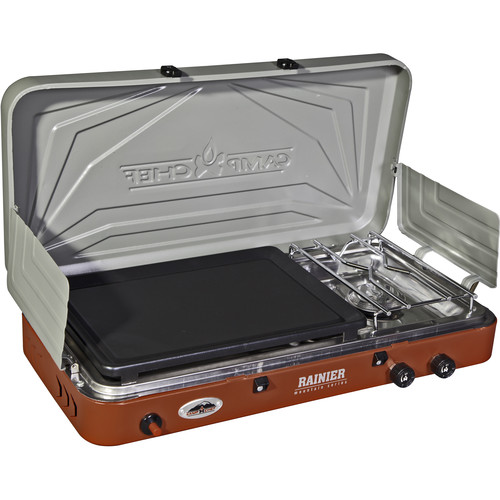 Camp Chef Rainier Two-Burner Stove with Griddle