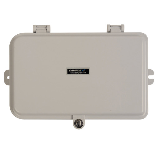 Camplex Plastic Wall Mount Terminal Box with Swing Out Splice Tray for 6 Simplex Fiber Adapters