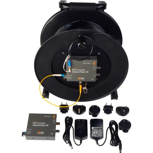 Camplex Tac-N-Go 4K Fiber Optic Converter / Extender with 1000' Fiber Cable Reel