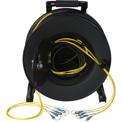 Camplex 4-Channel Fiber Optic Tactical Cable Reel with ST Connectors (750')
