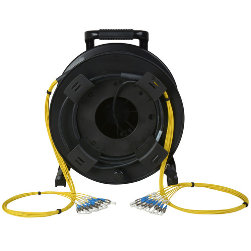 Camplex 8-Channel Fiber Optic Tactical Cable Reel with ST Connectors (750')
