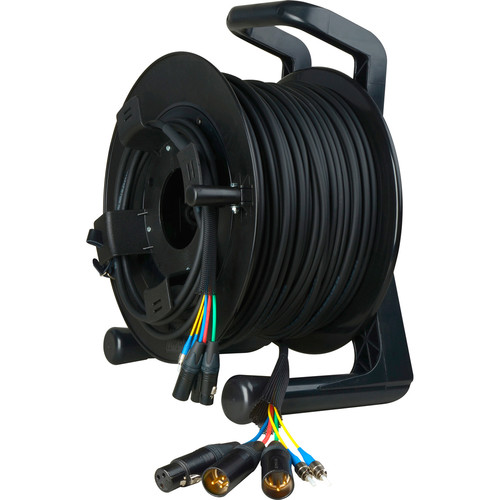 Camplex 3-Channel XLR Audio & 2-Channel ST Singlemode Tactical Fiber ENG Reel with 3-Pin XLR Intercom Channel (750')