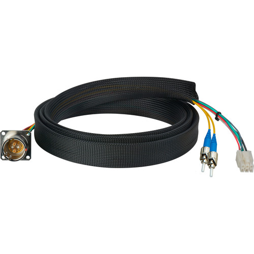 Camplex FCS015A-FR Hybrid Fiber Optic Receptacle Breakout Cable SMPTE/ARIB with ST Male Connector (1')