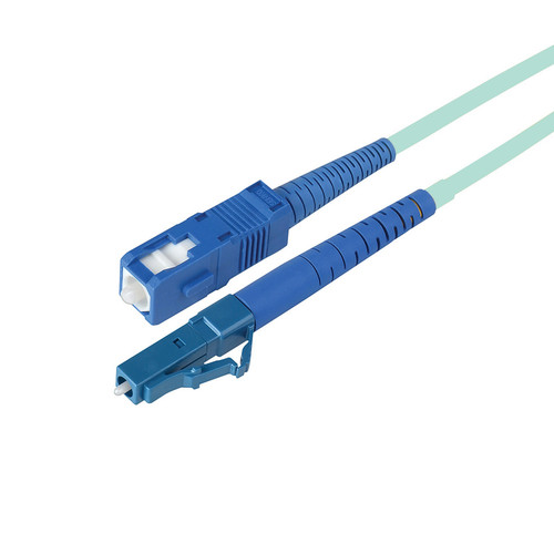 Camplex Simplex LC to SC Multimode Fiber Optic Patch Cable (196.9', Aqua)