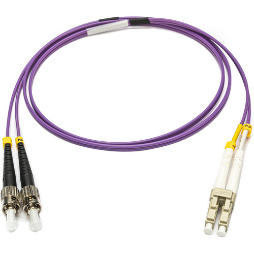 Camplex OM4 10/40/100G Multimode Duplex ST to LC Armored Fiber Patch Cable (32.8', Purple)