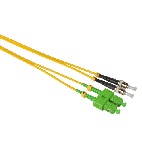 Camplex Duplex APC SC to UPC ST Singlemode 9u/125u Fiber Optic Patch Cable (16.4', Yellow)
