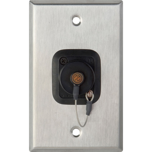 Camplex WPL-1215 1-Gang Stainless Steel Wall Plate with One OpticalCON Quad Fiber Optic Connector and Dust Cap