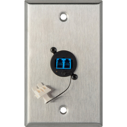 Camplex 1-Gang Stainless Steel Wall Plate with One Duplex LC Singlemode Fiber Optic Connector