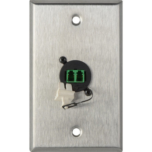 Camplex 1-Gang Stainless Steel Wall Plate with One Duplex APC LC Singlemode Fiber Optic Connector