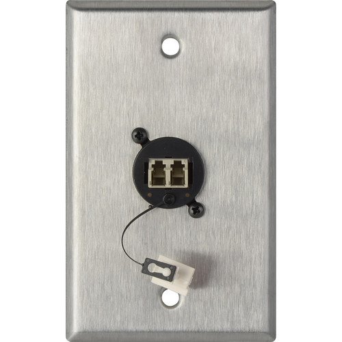 Camplex 1-Gang Stainless Steel Wall Plate with One Duplex LC Multimode Fiber Optic Connector