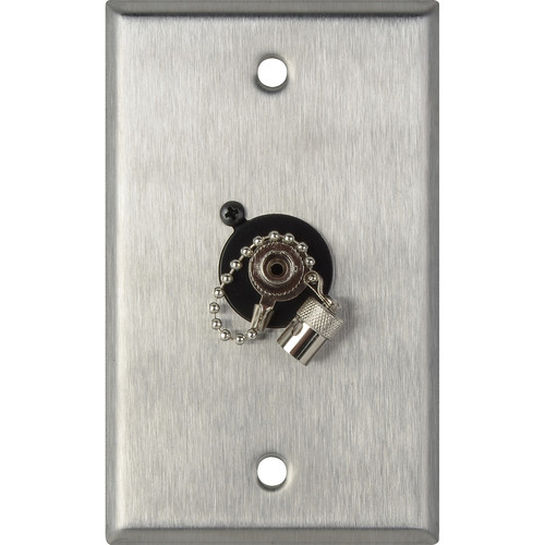 Camplex 1-Gang Stainless Steel Wall Plate with One ST Singlemode Fiber Optic Connector