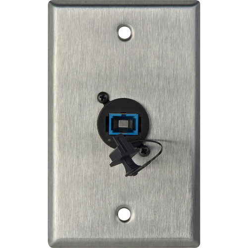 Camplex 1-Gang Stainless Steel Wall Plate with One SC Singlemode Fiber Optic Connector