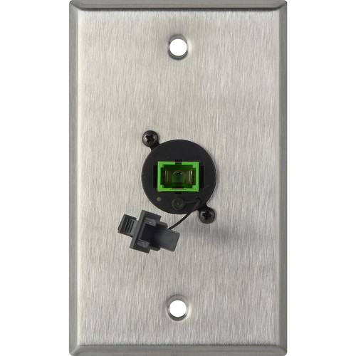 Camplex 1-Gang Stainless Steel Wall Plate with One SC APC Multimode Fiber Optic Connector