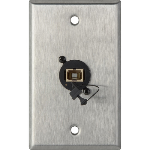 Camplex 1-Gang Stainless Steel Wall Plate with One SC Multimdoe Fiber Optic Connector