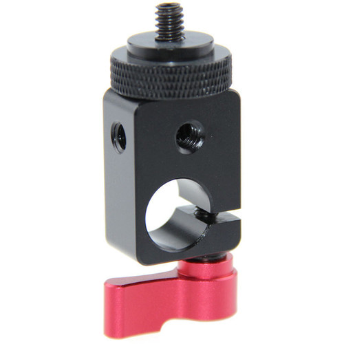 "CAMVATE 15mm Single Rod Clamp with 1/4""-20 Screw Mount Adapter (Red Lever)"