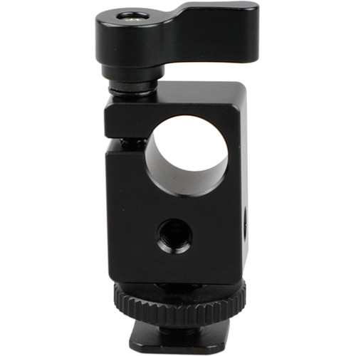 CAMVATE 15mm Single Rod Clamp with Shoe Mount Adapter (Black Lever)