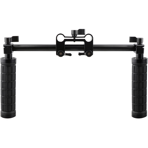 CAMVATE 15mm Rod and Rod Clamp with Two Handgrips Support Kit (Black Levers)