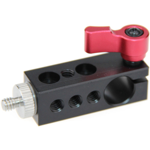 """CAMVATE 15mm Rod Clamp with Multiple Threads and 1/4""""-20 Screw (Red Lever)"""