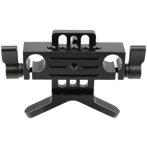 CAMVATE Adjustable Lens Support for 15mm Rods (Black Knobs)