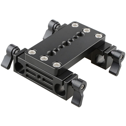 CAMVATE Tripod Mounting Plate with Dual 15mm Rod Blocks (Black Locking Levers)