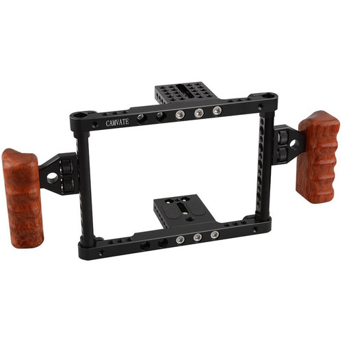 CAMVATE Camera Cage with Wooden Side Handles for DSLR, Mirrorless & Small Cameras