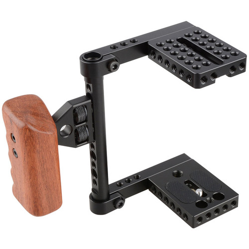 CAMVATE Camera Cage with Wood Handle for Select DSLRs (Left-Sided)