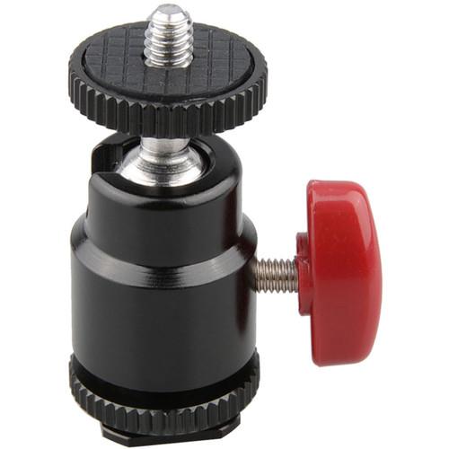 """CAMVATE 1/4""""-20 Mount Mini Ball Head for DSLR Vidicon Flash Trigger (Red Knob)"""