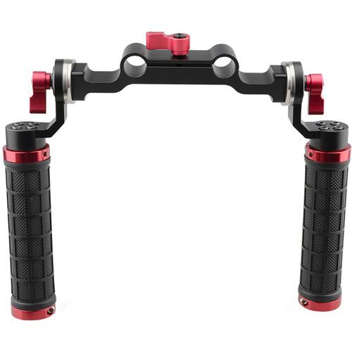 CAMVATE 15mm Rod & Soft Rubber Grip Shoulder Mount Rig with ARRI Rosette for DSLR Camera