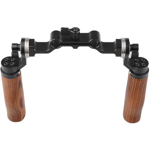 CAMVATE 15mm Rod & Wooden Handle Shoulder Mount Rig with ARRI Rosette for DSLR Camera