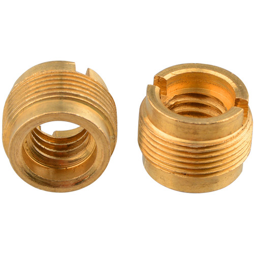 "CAMVATE 3/8""-16 Female to 5/8""-27 Male Thread Adapter for Microphone Mounts & Stands (Gold Brass, 2-Pack)"