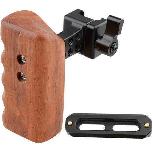 CAMVATE Left Hand Wood Handle Grip with Swat Rail Clamp & 70mm Safety Rail for Select DV and DSLR Camera Cages (Rosewood)