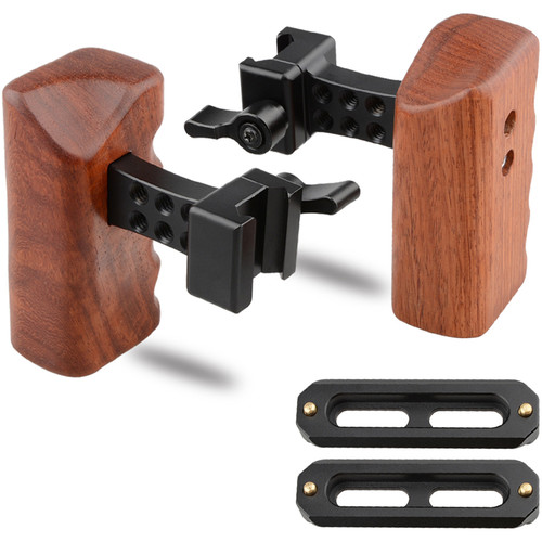 CAMVATE Quick Release Left & Right Hand Wood Handle Grip with Swat Rail Clamp & Two 70mm Safety Rails for Select DV and DSLR Camera Cages (Rosewood)