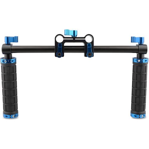 CAMVATE Handle Grips Handlebar Support Kit with Blue Thumbsrews for DSLR/Camcorder Shoulder Rig