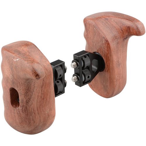 CAMVATE Left & Right Hand Wood Handle Grip for Select DV and DSLR Camera Cages (Bubinga)