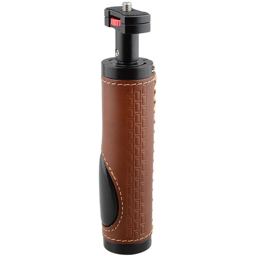 "CAMVATE Leather Handle Grip with 1/4""-20 Micro Rod Mount for Camera Video Light Monitor"