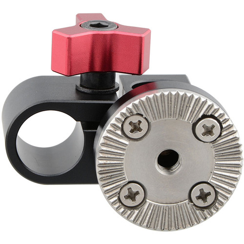 CAMVATE 15mm Single Rod Clamp with ARRI Rosette Mount for Handle Shoulder Rig (Red Thumbscrew)